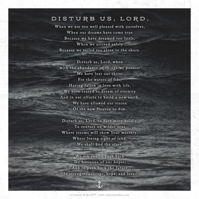Disturb us Lord Prayer